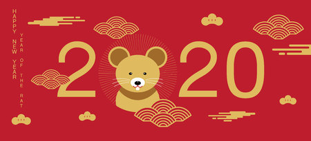 happy new year, 2020, Chinese new year greetings, Year of the Rat , fortune. Ilustração