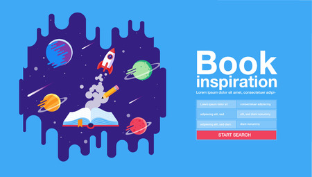 open book; space background; school; reading and learning; Imagination and inspiration picture. Fantasy and creative; Vector flat illustration.