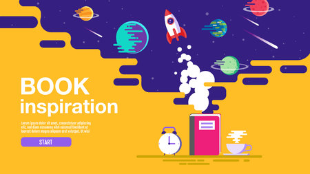 open book, space background, school, reading and learning , Imagination and inspiration picture. Fantasy and creative ,Vector flat illustration. Illustration