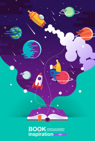 open book, space background, school, reading and learning , Imagination and inspiration picture. Fantasy and creative ,Vector flat illustration. 向量圖像