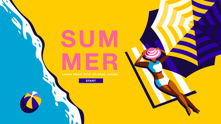 Summer Holiday, Poster , Banner, Vector Illusration Banco de Imagens - 120704932