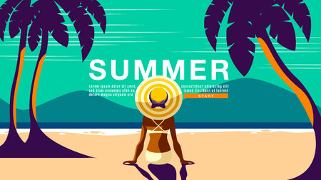 Summer Holiday, Poster Design .Banner, sunshine , tropical, vacation, Vector Illustration. Ilustração