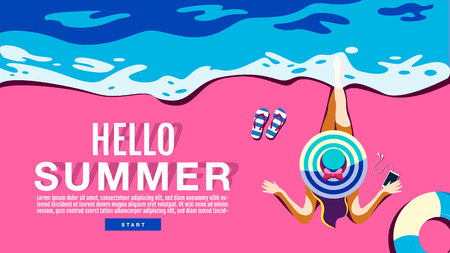 Summer Holiday, Poster , Banner, swimming pool, sunshine ,Vector Illustration. Standard-Bild - 120704942