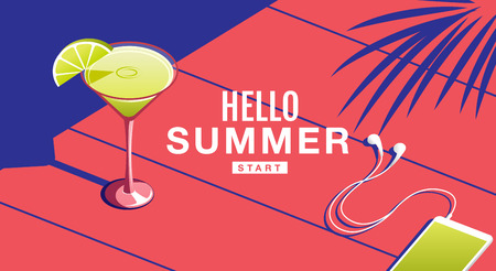 Summer Holiday, Poster , Cocktail, Banner, sunshine ,Vector Illustration.