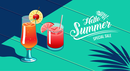 Hello Summer, Template Design, Tropical & Holiday, Cocktail, water Melon & Cherry, vector Illustration.