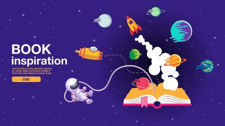 offenes Buch, Weltraumhintergrund, Schule, Lesen und Lernen, Vorstellungs- und Inspirationsbild. Fantasie und kreativ, flache Vektorgrafik.