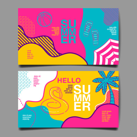 summer , layout design, greeting card, cover book, banner, stripe line, colorful, template design, vector illustration Banco de Imagens - 123637335