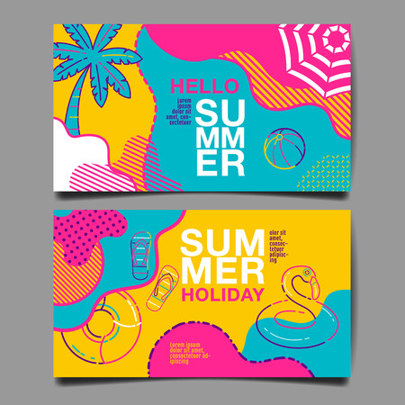 summer , layout design, greeting card, cover book, banner, stripe line, colorful, template design, vector illustration Illusztráció