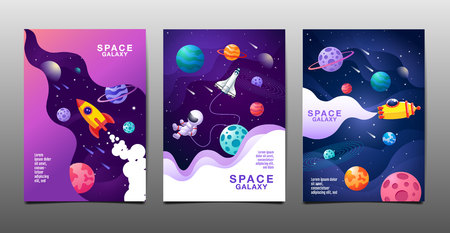 set of banner templates. universe space galaxy design. vector illustration