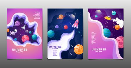 set of banner templates. universe. space. space galaxy, design. vector illustration Banco de Imagens - 121029716