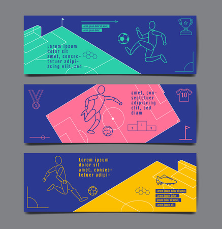 Template Sport Layout Design Flat Design single line Graphic Football Soccer, Vector Illustration. Illusztráció