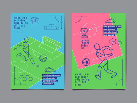 Template Sport Layout Design Flat Design single line Graphic Illustration Football Soccer Vector Illustration. Illusztráció