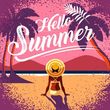 summer layout template design, Holiday Vacation banner, vector illustration