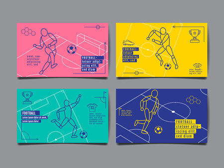 Template Sport Layout Design Flat Design single line Graphic Illustration, Football Vector Illustration.