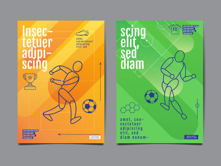 Template Sport Layout Design, Flat Design, single line,  Graphic Illustration, Football Vector Illustration.