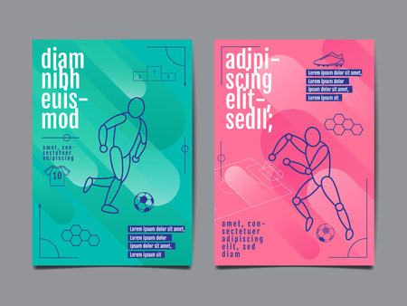 Template Sport Layout Flat Design single line  Graphic Illustration, Football Vector Illustration