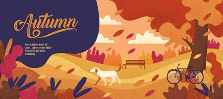 Autumn Banner Design Template for Thanksgiving, vector illustration, Drawing, Cartoon, Landscape Painting Style. 向量圖像
