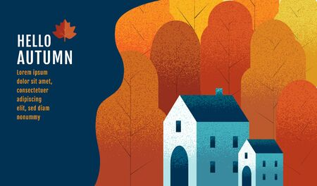 Hello Autumn, Banner Design Template, Thanksgiving, vector illustration, Drawing, Cartoon, Landscape Painting Style. Illusztráció