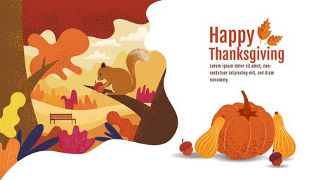 Happy Thanksgiving, Autumn, Banner Design Template, vector illustration, Drawing, Cartoon, Landscape Painting Style. 向量圖像