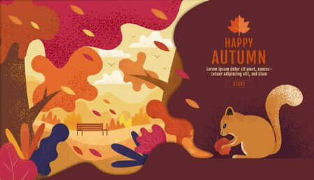 Happy Thanksgiving, Autumn, Banner Design Template, vector illustration, Drawing, Cartoon, Landscape Painting Style. Illusztráció