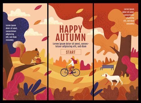 Happy Autumn ,Thanksgiving, Banner Design Template, vector illustration, Drawing, Cartoon, Landscape crayon Painting Style. Illusztráció