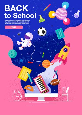 back to school ,inspiration, poster, flat design colorful, vector