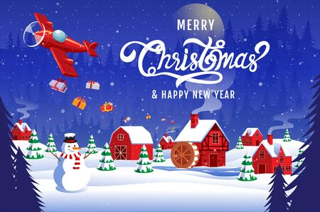 Merry Christmas, happy new year 2020 , calligraphy, landscape winter, vector illustration.