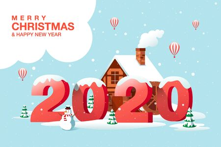 Merry Christmas, Happy New Year 2020, Hometown City, Winter Landscape, Vector Illustration. Ilustracja