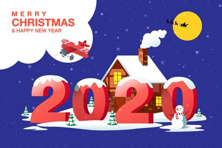 Merry Christmas, Happy New Year 2020, Hometown City, night, Winter Landscape, Vector Illustration. Ilustracja