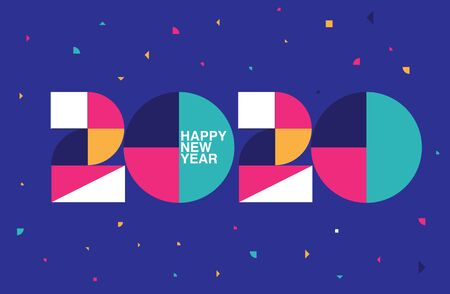 Happy New Year 2020 logo text design. memphis design ,template, card, colorful. Vector illustration.