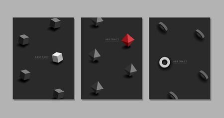 Black background. Abstract realistic 3D, geometric , texture Vector.