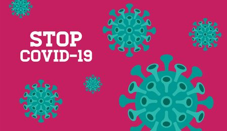 Stop Covid-19 Background, vector Illustration, Typography Design, World Health Organization WHO introduced new official name for Coronavirus disease named COVID-19.