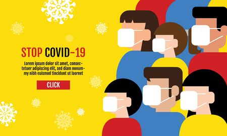 People wearing protective Medical mask for prevent virus Covid-19, Template Banner Design, Flat Design Graphic, vector