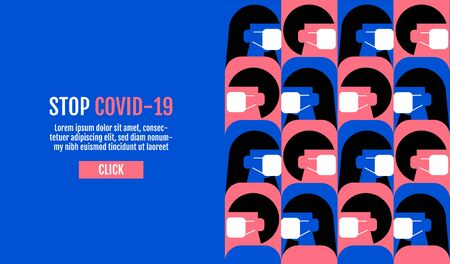 People wearing protective Medical mask for prevent virus Covid-19, Template Banner Design, Flat Design Graphic, vector pattern Background. 일러스트