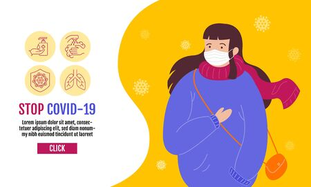 Stop Covid-19 Template Banner, People wearing protective Medical mask for prevent virus Covid-19, Coronavirus Protection Related Vector Line Icons.