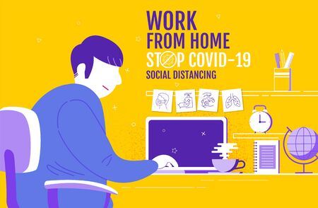 Work from home, Social Distancing concept , Stop Covid-19, People keeping distance for infection risk and disease, Coronavirus, Cartoon Character, Vector Illstration.