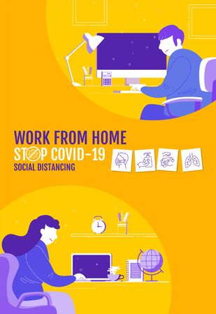 Work from home, Social Distancing concept , Stop Covid-19, People keeping distance for infection risk and disease, Coronavirus, Cartoon Character, Vector Illustration.