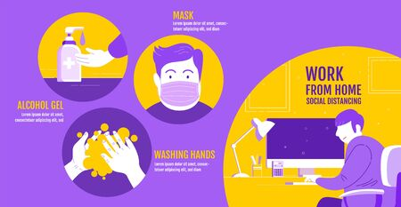 Work from home, Social Distancing , Stop Covid-19 concept , People keeping distance for infection risk and disease, Coronavirus, Cartoon Character, Vector Illustration. Illustration