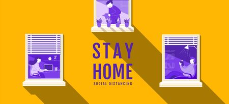 Stay Home, Social Distancing , Stop Covid-19 concept , People keeping distance for infection risk and disease, Coronavirus, Cartoon Character, Vector Illustration. Illustration