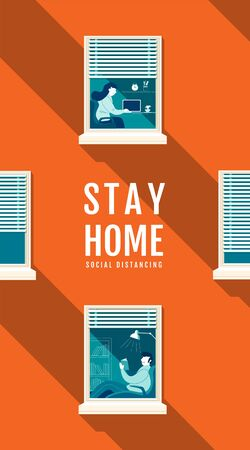 Poster Stay Home Social Distancing Concept, Protection Covid-19 Virus, People Stay home, Vector Illustration, Flat design.
