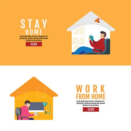 Stay Home Social Distancing Concept, work from home, Protection Covid-19 Virus, People Stay home, Vector Illustration