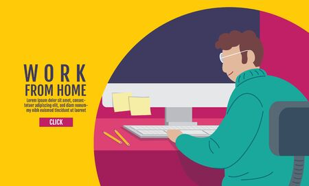 Work from home, Social Distancing concept , Stop Covid-19, People keeping distance for infection risk and disease, Coronavirus, Banner Design, Vector Illustration.