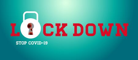 Lock Down Stop Covid-19, Logo Design Icon on Red Background, Vector Illustration. 일러스트