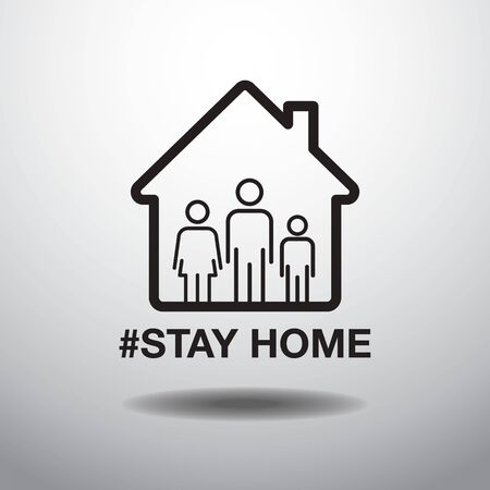 Stay Home Social Distancing Concept, Sign Icon, Protection Covid-19 Virus, Black and White Vector