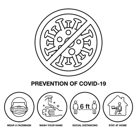 Set Icon Prevention of Covid-19, Sign and Symbol Stroke Line, Vector