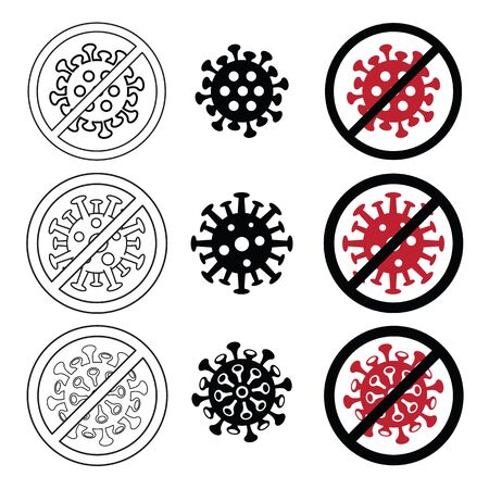 Icon Covid-19 Sign & Symbol, vector Illustration, Logo Design, World Health Organization WHO introduced new official name for Coronavirus disease named COVID-19. Illustration