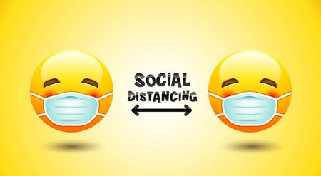 Social Distancing, Face mask icon, emotion, vector.
