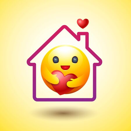 Stay Home, Social Distancing, Smiley  icon, caring emotion, vector.