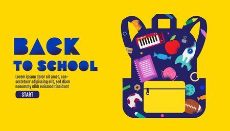 back to school sale banner, poster, design layout colorful, vector illustration.