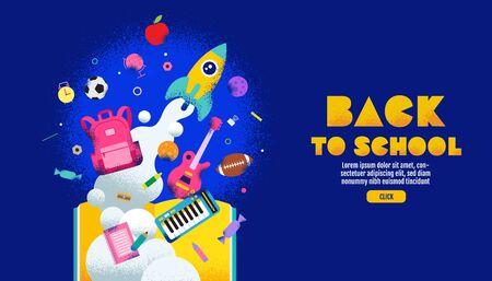 back to school sale banner, poster, design layout colorful, vector illustration.